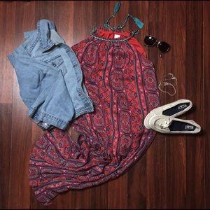 Maxi Multi-Color Heart Dress NWOT SZLarge